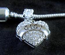 Gigi Charm   Fits European style bracelet  Gigi jewelry  Crystal Heart