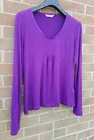 Pretty L K BENNETT Purple Jersey Long Sleeve Top, Satin-Effect Trim, Size 12/14*