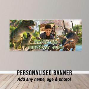 Personalised Dinosaur Scene Birthday Banner Kids Childs Fun Party Poster