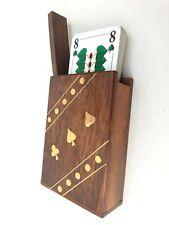 edle Holz Box für Spielkarten mit Messingverzierung & Karten