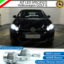 KIT LED H7 VW GOLF 6 CANBUS 9800 LUMEN 6000K BIANCO PLUG AND PLAY ALL IN ONE