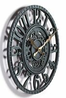 Outdoor indoor Garden Wall Clock  Hand Painted cog wheel clock 29cm