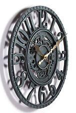 Outdoor indoor Garden Wall Clock  Hand Painted cog wheel clock 29cm