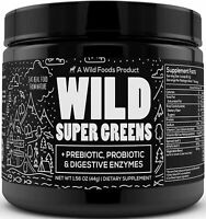Wild Super Greens Superfood Powder - Organic Green Powder Supplement 6.70z