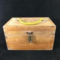 Vintage White Oak Distressed Wooden Box Braided Nylon Handle – 12″ x 7″ x 7″
