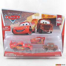 Disney Pixar Cars Lightning McQueen with Sign and Fred Rusteze Racing collection