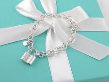 Tiffany & Co 1837 Silver Padlock Charm Bracelet Link Chain Box Included