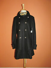 New Juicy Couture Size L Black Military Inspired Ruffle Chelsea Wool Coat