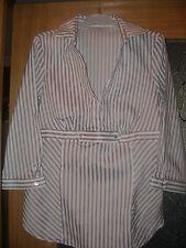 REBAJAS ZARA BASIC  mujer, camisa RALLAS talla L 42 44  GRIS y crema,ELASTICA