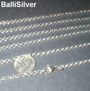6 pieces Sterling Silver 925 3mm ROUND ROLO Chains Assorted Lengths Lot