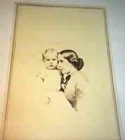 Antique American Civil War Era Victorian Fashion Mother & Young Child! CDV Photo