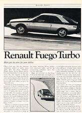1982 Renault Fuego Turbo Road Test Original Car Review Report Print Article J936