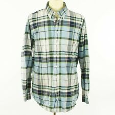Cinch Men Shirt Size XL Blue Green White Plaid Cotton Button Down Long Sleeve
