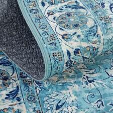 Auqa Blue Ivory Rug Soft Non Slip Border Persian Carpet Mat 160x230cm
