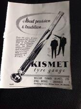 74-2 74-3 Ephemera 1957 Advert Kismet Tyre Gauge William Turner Sheffield