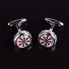 Designer Luxury Cufflinks Circle Round Boss White & Rose Gold Pearl Mens Silver