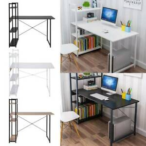 Computer Table Study Desk with Shelves Unit Black Home Office Workstation Corner