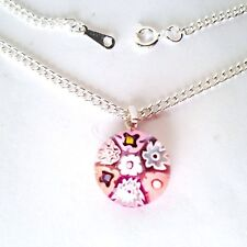 Pink Glass Flower Pendant Nacklace. Silver Chain with Murano Millefiori