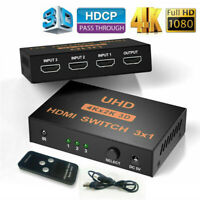3 in 1 HDMI Splitter Switch Adapter Switcher 4K Ultra HD HDCP 3D HDR With Remote
