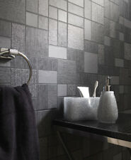 Kitchen Bathroom Washable Vinyl Black Glitter Square Tile Wallpaper