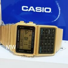 Casio Databank Gold Calculator 5 Alarms Telememo Dual time Mens Watch DBC-611G-1