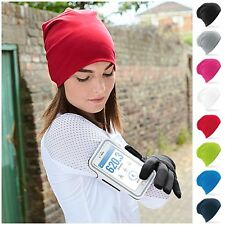 Jersey Stretch Beanie Hat Sports Running Cycling Soft Thin Warm Cotton Skull Cap