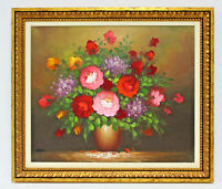 Pink Red Floral Bouquet 20 x 24 Art Oil Painting on Canvas w/Gold Wood Frame