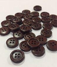 10 x 15mm Dark Brown Wooden Buttons - Australian Supplier