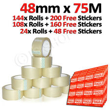 Clear Packing Box Carton Sticky Sealing Shipping Tape 75M x 48mm + Free Stickers