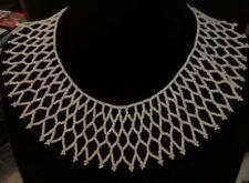 Vintage white glass beaded collar