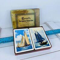 Vintage Playing Cards E.E. Fairchild Canasta Double Deck P167 Sailboats (2) 059