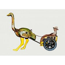 Wind up cart dragged by an ostrich