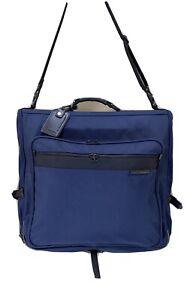 "Briggs & Riley Navy Blue Ballistic Nylon 24"" Full Size Bifold Garment Bag"