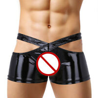 Mens Lingerie Wetlook Crotchless Two Halves Underwear Panties Set Boxer Briefs