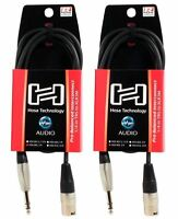 """2 Hosa HSX-005 5 Foot Rean 1/4"""" TRS To XLR 3 Pin Male Speaker Cables"""