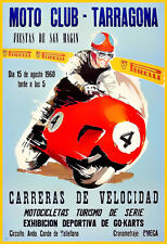 Motorcycle Racing Tarragona 1960 Bike Motobike Race  Poster Print