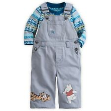 DISNEY STORE WINNIE POOH & TIGGER DUNGAREE OVERALL SET BABY 18/24 MOS NWT CUTE!