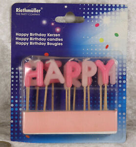 Riethmuller party happy birthday candles on sticks pink cake decorations