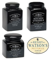Charlotte Watson Black Ceramic Pottery Utensil, Garlic or Biscuit Jar Cellar