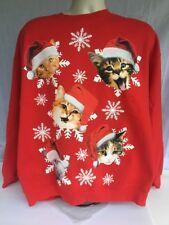 Gildan Womens Ugly Christmas Sweater Crazy Cat Lady in Santa Hats Long Sleeve XL