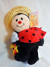 "LADYBUG GIRL 9"" Plush with Purse and Straw Hat Flowers Inc Balloons 96049"