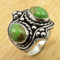 2 Stone, Green Copper Turquoise HANDMADE Ring Size 9 | Silver Plated Jewelry NEW