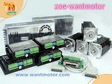 USA free!CNC Wantai 4Axis Nema 23 425oz-in Dual Shaft& Driver DQ542MA 128Micro