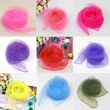 Kid Women Chiffon Silk Slim Soft Square Neck Head Scarf Pure Multi-color Fashion