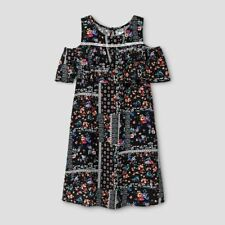 NEW Girls' Cold Floral Shoulder Dress by Art Class - Ebony - Size: XS 4/5