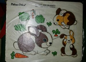 Vintage Wood/Wooden Jigsaw Puzzle Fisher Price Rabbit and Bunnies