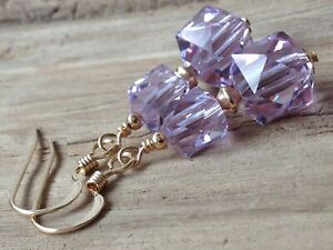 Art Deco Lilac Faceted Cube Crystals 14ct Rolled Gold Earrings