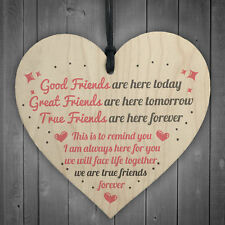 True Friends Friendship Sign Best Friend Plaque Gift Chic Wood Heart Thank You