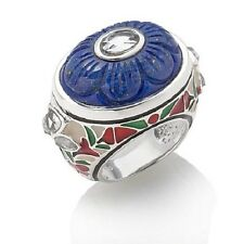 ISHARYA STERLING SILVER FLORAL CARVED LAPIS AND ENAMEL RING SIZE 10 HSN SOLDOUT!