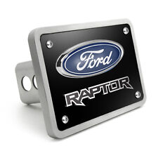 """Ford F-150 Raptor 3D Black 3/8"""" Thick Solid Billet Aluminum Tow Hitch Cover"""